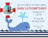 Whale Photo Invitation Birthday Printable Ocean Nautical Summer