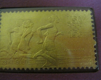 U.S. Olympic Commemorative Controversy and Collectible 1980 Athletic Runners 23-Karat Gold 15 Cent Stamp & Card Collectible Rare Souvenir