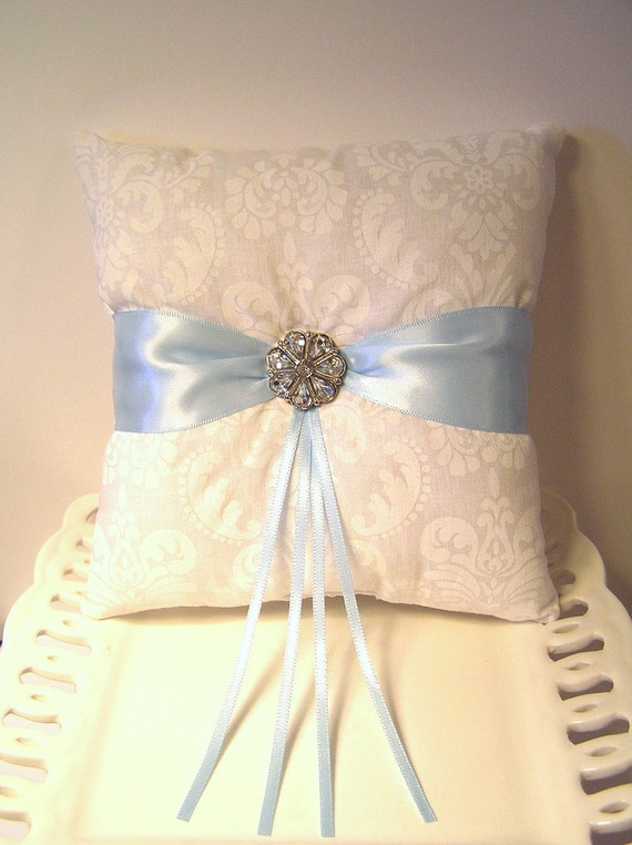 White Damask and Light Blue Ring Pillow