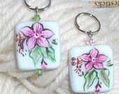 Pink Flowers Handpainted Lampwork Glass Stitch Markers - Size 13