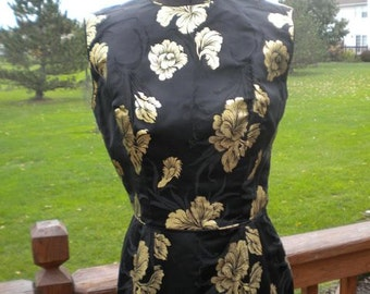 SALE  Stunning  Vintage Black And Gold Sexy Cocktail Dress