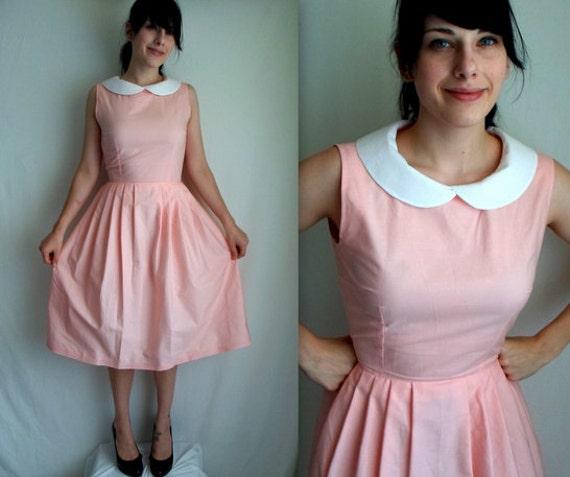 Pale Pink & White Peter Pan Collar Dress