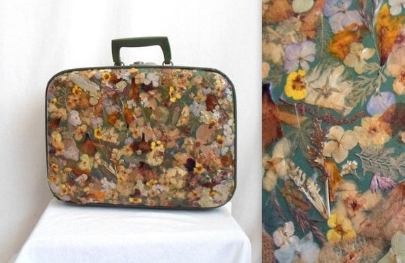 Garden Party Real Flowers Small Green Suitcase
