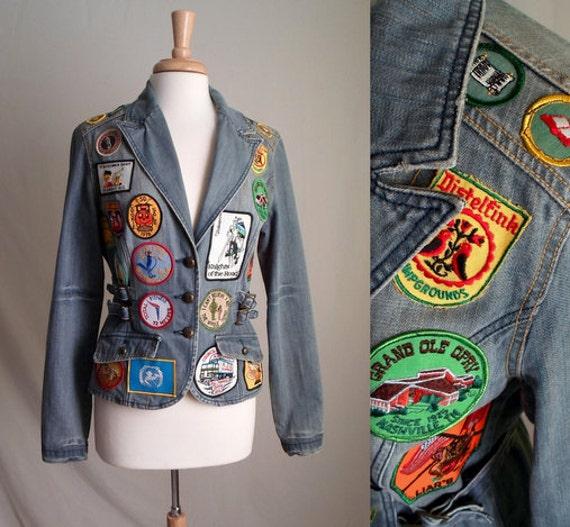 Vintage Patch Covered Denim Jacket