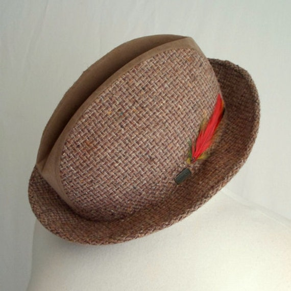 Brown McGregor Hat with Red Feather