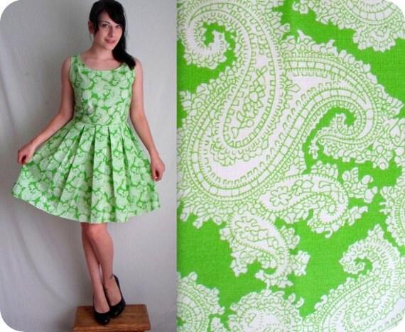 RESERVED FOR RACHEL Green & White Paisley Vintage Inspired Dress