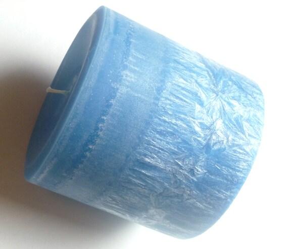 Blue Pillar Candle, Vanilla Lotus Scented, 4 x 4