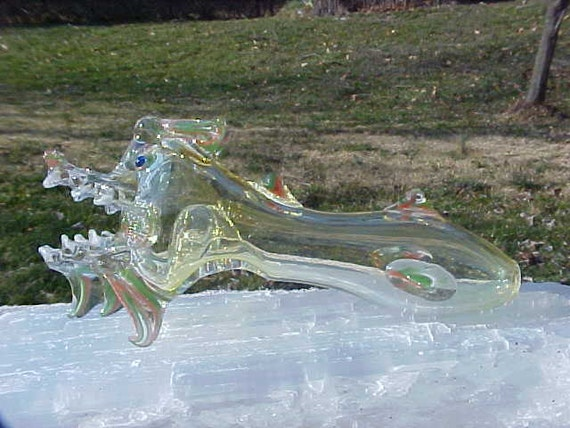 FACE of PuFF the Magic DRAGON TOTEm Spirit  Multi Color Glass PiPE hand blown FREE Us Shipping