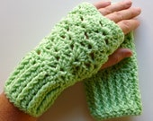 Light Green Wrist Warmers Light Green Fingerless Gloves Crocheted