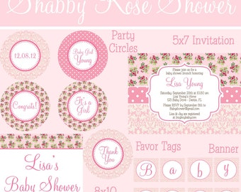 Shabby Vintage Pink Rose Damask Girl Baby Shower Party Package - PRINTABLE