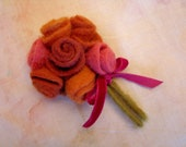 Charming wool brooch with romantic roses