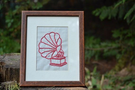 CLEARANCE SALE // 40% off - Framed Hand Embroidery // Retro Phonograph
