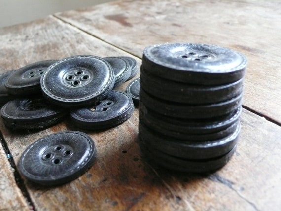 Vintage leather buttons, french, paris, black, haute couture, sewing supplies, french vintage finds by ancienesthetique