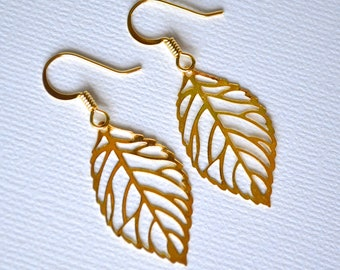 Gold Filigree Leaves . Earrings . Small .  Autumn Leaves Collection