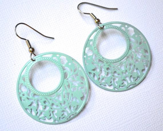 Mint Green Filigree Hoops . Earrings . Elena Collection