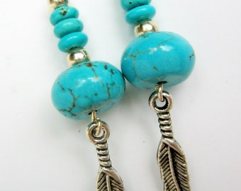 Earrings, Turquoise Magnesite Native American Style
