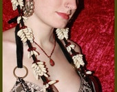 Custom Hairfalls w/Cowrie Shells  (Pair) - Made To Order, ATS, Bohemian, Hippie