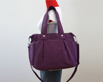 Stock SALE - Purple Water-resistant Nylon Bag, Diaper bag, Women, Shoulder bag, Tote bag, Messenger bag, Beach bag, 3 Compartments - Nuch