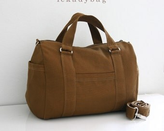 SALE Brown Canvas Bag, Messenger bag, Tote Purse, Shoulder bag, Hobo bag, Handbag, School bag, Travel bag, Men Women, Mini Duffel - Duffy