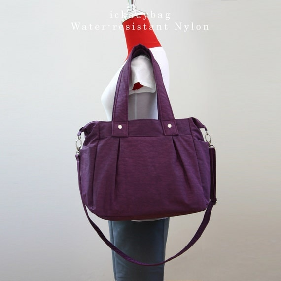 sale purple bag shoulder bag water resistant nylon by ickadybag. Black Bedroom Furniture Sets. Home Design Ideas