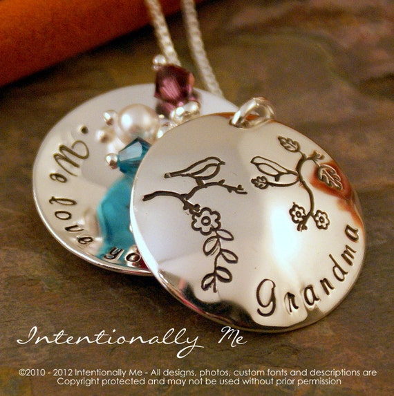 Hand Stamped Grandma Necklace Locket - Sterling Silver Personalized Custom Jewelry- Grandma we love you locket with birthstones