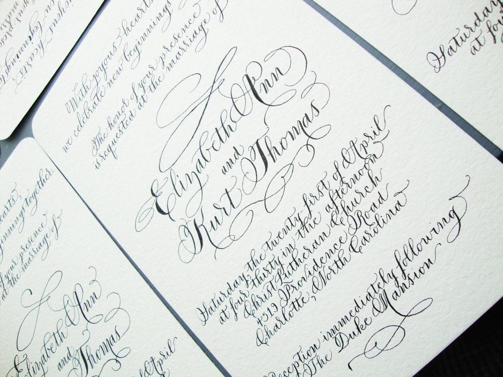 Calligraphy Wedding Invitations: Hand Written Wedding Calligraphy Invitation By