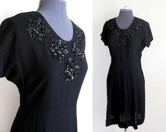 The Perfect 30s / 40s Black Crepe Dress  Sequin Neckline