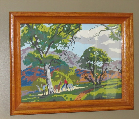 Framed Vintage Paint by Number Painting / Paint by Number Painting