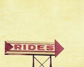 Rides arrow sign amusement park boardwalk summer yellow red ocean - 11 x 14 art photography print by Dawn Smith