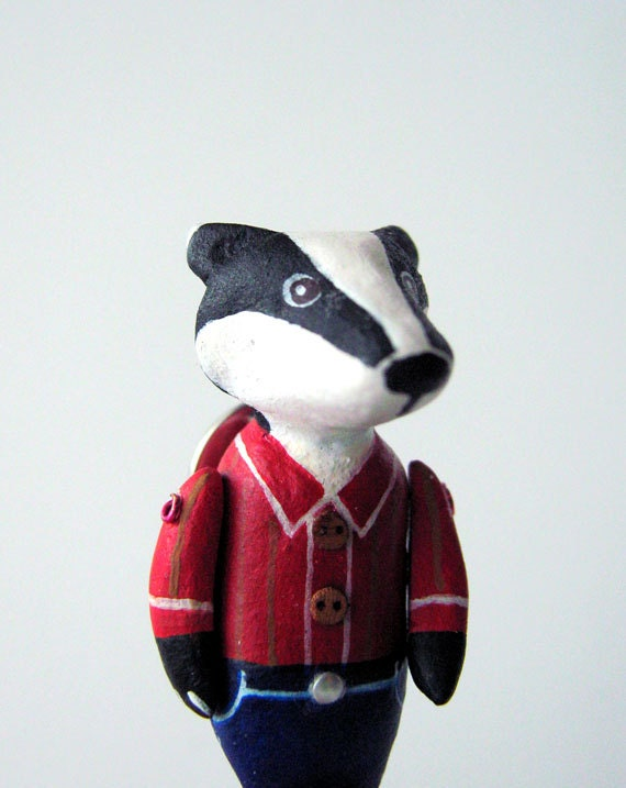 Badger Brooch Pin in Red Shirt & Blue Pants, handmade