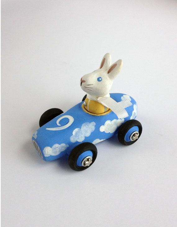 Mini Cloud Car with White Rabbit, Handmade Toy Car, Cloud Nine, Light Blue