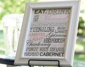 Wedding Sign - Drink/Bar Menu - Customized