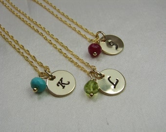 Bridesmaid Jewelry Set of 4 Gold Initial Necklace Birthstone Bridesmaid Necklace Personalized Bridesmaids Gifts Monogram Necklace