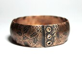 Etched Copper Bangle Bracelet Rustic Floral Metalwork Jewelry