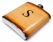 6 oz Personalized Stainless Steel Flask - Brown