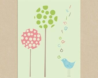 INSTANT DOWNLOAD - Printable Alphabet Birdie Wall Art 8x10
