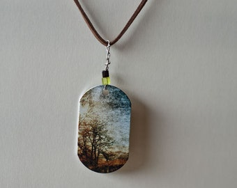 Metal photo pendant, Necklace, modern, woodland tree photography
