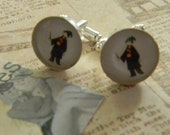HARRY POTTER Silhouette CUFFLINKS (or create your own) silver plated 15mm glass Perfect for your hubby, dad, son, or wedding