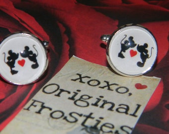 MICKEY and MINNIE MOUSE Cufflinks (perfect for hubby, son, groom, or wedding party gifts)