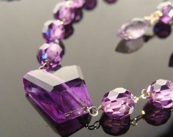One of a Kind Amethyst Sterling Sliver Gemstone Necklace and Earrings Set