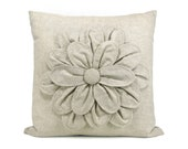 Flower pillow cover - Natural beige flower applique pillow case - 16x16 decorative pillow cover - ClassicByNature