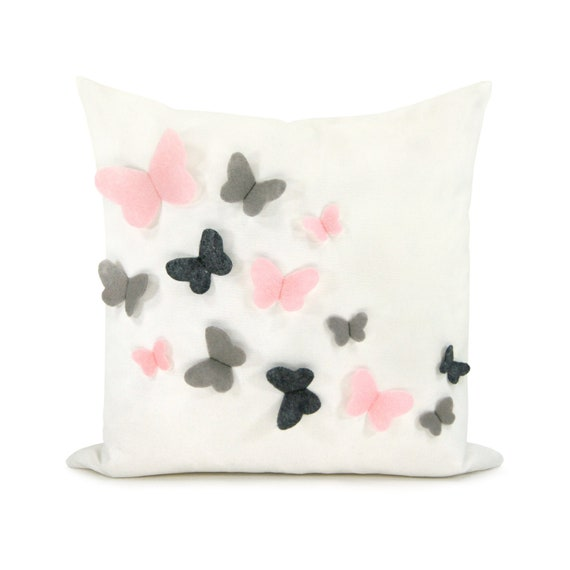 Butterfly Decorative Pillow Cover, Baby Girl Nursery, Spring Summer Decor | Felt Butterflies in Pink, Light Grey, Charcoal and White