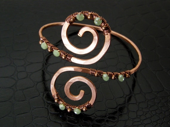 Womens Copper Upper Arm Cuff Bracelet with Green Crystals Hand Crafted