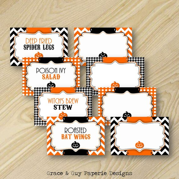 Halloween Printable Food Labels or Place by ... |Halloween Party Food Labels