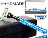 Shaving Razor handle blue Italian acrylic high quality shaving