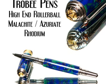 Rollerball Pen Azurite and Malachite Polished Trustone Simstone 22kt Gold Accents Rhodium Parts Top Rated