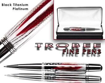 Red custom feather pen ballpoint, platinum and titanium with case
