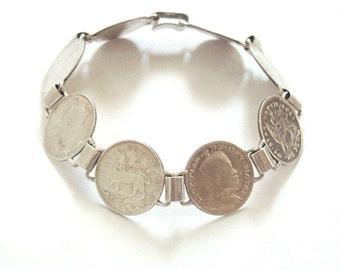 Ethiopian Silver Coin Bracelet Antique Handmade Tribal Jewelry