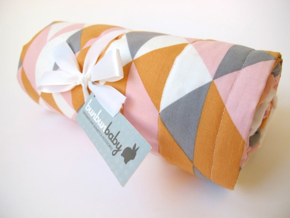 Organic Baby Blanket in a Modern Geometric Print - Orange, Pink, Grey and White - On Point in Peachy by Cloud 9