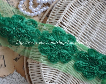 Deep Green Chiffon 3D Flower Lace Trim Soft Lace 2.56 Inches Wide 2 Yards